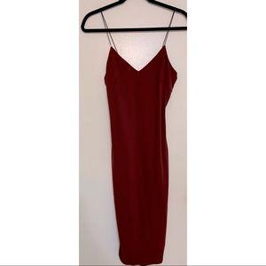 Maroon Spaghetti Strap Bodycon Dress